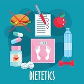 Dietetics, nutrition, healthy lifestyle flat icon