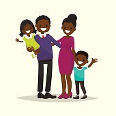 African American family. Father, mother, son and daughter.