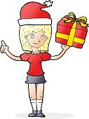 cartoon woman with gifts
