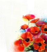 Watercolor red poppy flower painting