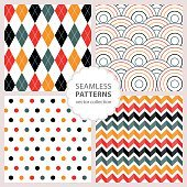 drawn painted geometric patterns set. Vector illustration