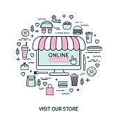 Online shopping. Vector thin line icons. Set with fast food