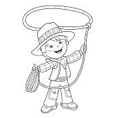 Coloring Page Outline Of cartoon cowboy with lasso