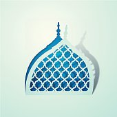 Islamic background design Mosque dome symbol with arabic pattern