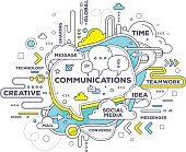 Vector creative illustration of mobile communication with speech bubble