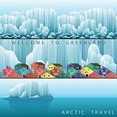 Three vector web banners on the theme of Arctic