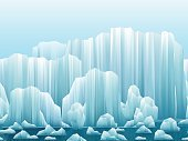 Parallax background of icebergs and sea. Vector illustration.