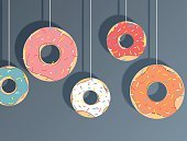 Hanging donuts, paper cut style