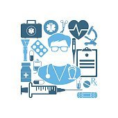 Icon doctor. Abstract medicine background.