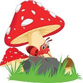 happy ant cartoon with red mushroom