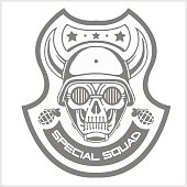 Military and biker patch isolated on white