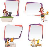 backgrounds with cartoon business women