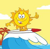 Happy Surfer Sun Showing A Thumb Up With Background