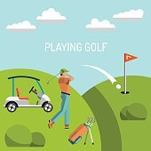 Playing game golf