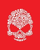Floral skull on red background. White roses and skeleton head