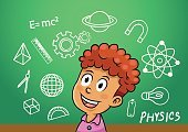 school boy write physics symbol object  icon in school blackboard