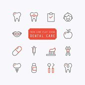 Dental care thin line trendy icons. Vector illustration