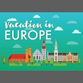 Vacation in Europe vector banner. Flat illustration with european landmarks