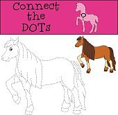 Educational games for kids: Connect the dots. Cute horse.