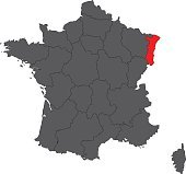 Alsace red map on gray France map vector
