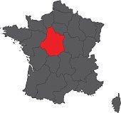Centre red map on gray France map vector