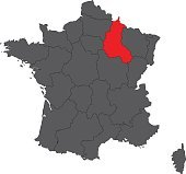 Champagne-Ardenne red map on gray France map vector