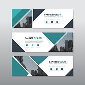 Green triangle abstract corporate business banner template, horizontal advertising business