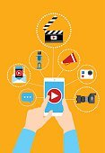 Hand Hold Cell Smart Phone Video Blog Concept