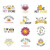 Pet shop symbols vector set.