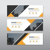 Yellow black triangle abstract corporate business banner template, horizontal advertising