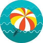 Parasailing. Summer kiting activity icon. Vacation