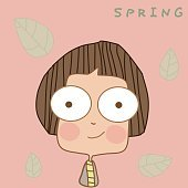 Illustration cute boy wearing spring clothes.