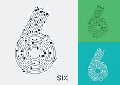 Vector number six on a bright and colorful background.