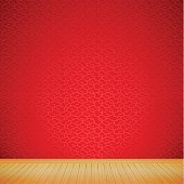 Brown wood floor with chinese style red background empty room
