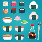 Japanese Food. Set of various different types sushi. Vector illustration