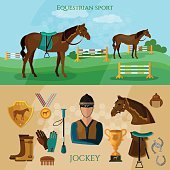 Equestrian sport banner professional jockey horse riding