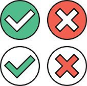 Vector thin line check marks icons set for web, mobile