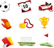 Soccer Icons with Football Shirt Shoes Gloves Cup Trophy Field