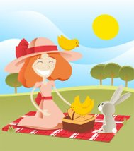 Little girl having a summer picnic with rabbit bunny birds