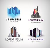 Vector set of building logos. 3d structure, house, office