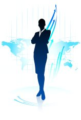Young business woman pointing on world map background