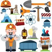 Coal industry icons, characters, icon set for infographics.