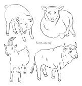 black and white image of  bull, pig, sheep and goat