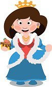 Queen with a cake. Cartoon characters vector.