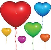 Vector heart balloon. Color set.