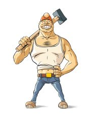Difficult job: Worker with hammer 2