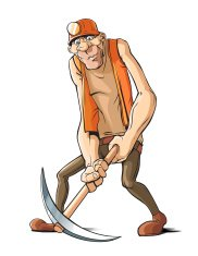 Difficult job: Worker with pickax.