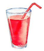 Watercolour illustration of red fruit juice glass