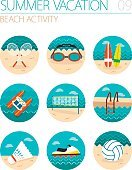 Beach activity icon set. Summer. Vacation