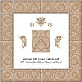Antique tile frame pattern set_376 Spiral Cross Flower Leaf Decal